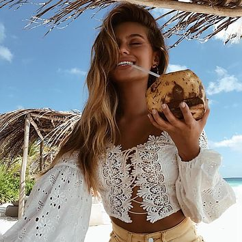 Off Shoulder Lace Hollow Out Long Lantern Sleeves Crop Top