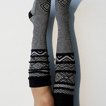 Scandinavian Pattern Knee High Socks Black