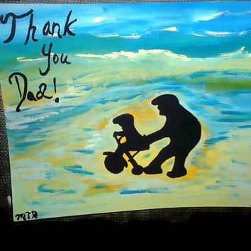 Thank You Dad Abstract Acrylic Painting Dad and Child Silhouette Learning To Ride A Bike Fathers Day Gift Idea