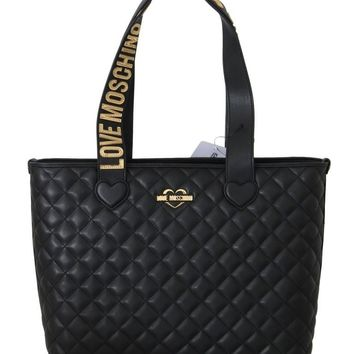 Black Quilted Faux Leather Tote Bag