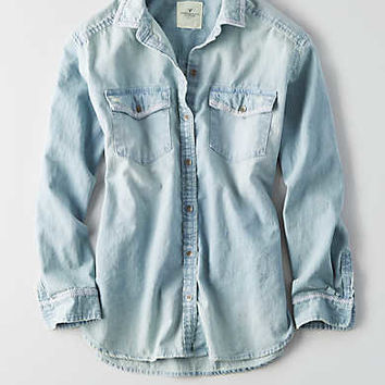 AEO Oversized Embroidered Denim Shirt, Light Wash