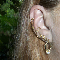 Gold Ear Cuff with Vintage Baby Ring, Handmade Ear Cuff, Pearl Ring Ear Cuff, Whole Ear Wrap, Right Ear Cuff Baby Ring Pearl