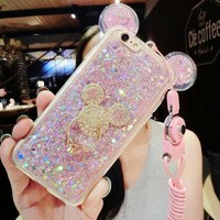 3D Luxury Cute Bling Giltter Diamond Mouse Ring Kickstand Strap Phone Case Cover For iPhone 7 Plus 5.5 inch