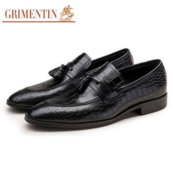 GRIMENTIN Brand crocodile grain mens loafers genuine leather comfortable luxury tassel Italian men party shoes
