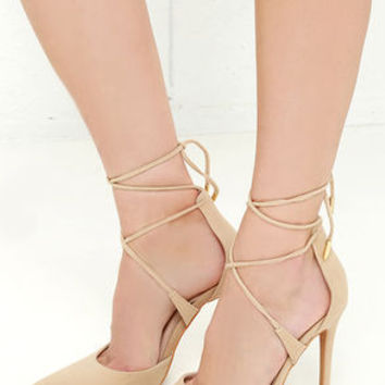LULUS Michele Nude Lace-Up Heels
