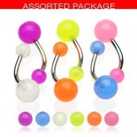 GLOW IN DARK BELLY RINGS SET OF 10