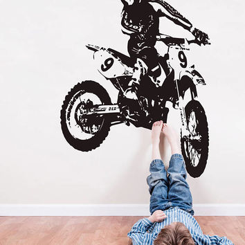 Dirt Bike Wall Decal, Motocross Wall Sticker, Motorsport Motor Bike Wall Mural Decor, Motorcycle Racing Room Decoration Enduro Bike se166