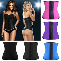 New Latex Waist Trainer Cincher Steel Boned Rubber Corset Body Shaper Shapewear = 1930013956