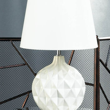 Desk Table Lamp, Modern Small Office Desk Lamp For Bedroom - Ceramic, White