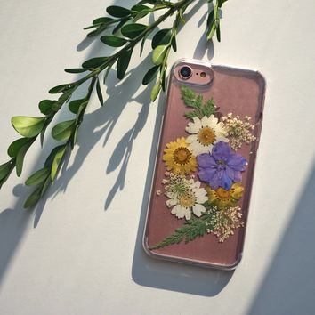 Pink Pressed Flower iPhone 7 Case, iPhone 8 Case, iPhone 8 Plus Case Gift for Her, X Case, Clear iPhone Case, Floral Phone Case, 6s 6 5s 5