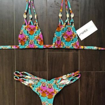 Fashion Print Floral sexy net straps bikini with Shell and bottom side hollow swimsuit back knot two piece bath suit