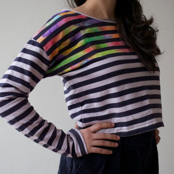 Upcycled Rainbow Multicolor Stripe Long Sleeve Slouch Nautical Crop Top / Pale Lilac Navy Knit Sailor Blouse Shirt / Size Small Medium Large