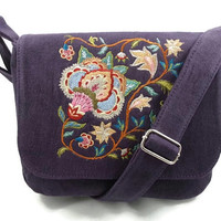 Crossbody Bag Purse, Deep Purple Embroidered, Ecofriendly Hemp Fabric