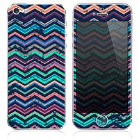 The Inverted Grunge Chevron Color Pattern Skin for the iPhone 3, 4-4s, 5-5s or 5c