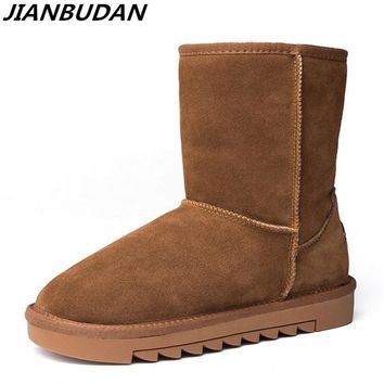 JIANBUDAN Luxury high-quality leather women's snow boots 2018 new long boots  women's warm plus cotton boots Anti-skid shoes