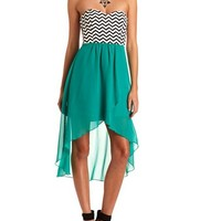 CHEVRON HI-LOW 2-FER DRESS