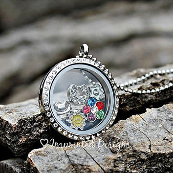 Pick 5 Charms - Floating Charm Locket - Choose 5 Charms - Memory Locket - Build Your Own Locket