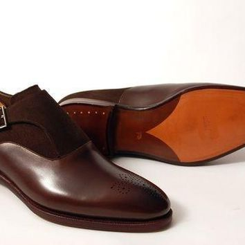 Wakeby Wolf Formal Brown Brogue Single Monk Suede & Leather Shoes