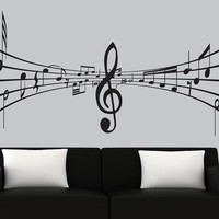 Modern vinyl wall decal 3d music notes decal black silhouette decals music wall mural