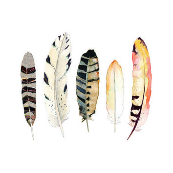 Watercolor and Ink Feather Print.  Tribal Art.  Nature Decor.