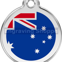 Australian Flag Enamel and Stainless Steel Personalized Custom Pet Tag with LIFETIME GUARANTEE ID Tag Dog Tags and Cat Tags Free Engraving