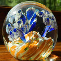 Vintage Oceanic Art Glass Paperweight - Under the Sea - Blue Coral Design - 1960's or earlier - Possibly Murano