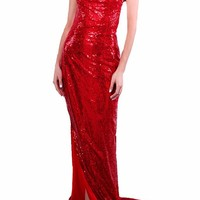 Honey Couture LUNA Red Low Back Sequin Formal Gown Dress