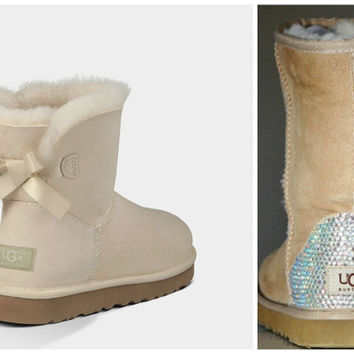 NEW - Ugg Mini Bailey Bow Boots with Swarovski Crystal Bling Boot Heel - Uggs with Crystal Bling