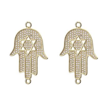 1pc 35*22mm Micro Pave CZ Hamsa Hand Charms Connector Necklace & Pendant Jewelry Accessories For Women Diy Bracelet