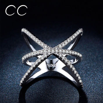 Punk Rock Star Cubic Zirconia Rings For Women Whtie Gold Plated Party Ring CZ Diamond Sapphire Jewelry Bijoux Bague Femme CC237