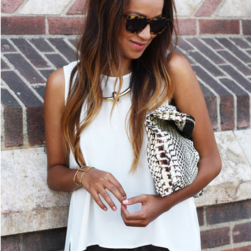 White Sleeveless Asymmetric Top