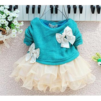 2017 New Infant Baby Baby Girls Autumn Spring Long Sleeve Knitted With Bow Infants Newborn Pink Tutu Princess Dress Baby Dress