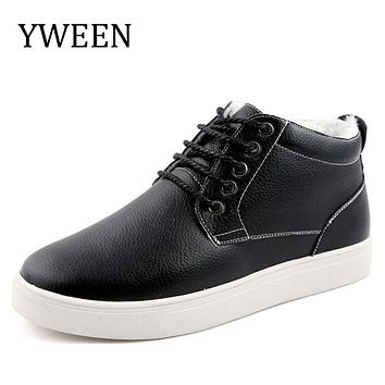 YWEEN Men Boots Winter Cotton shoes Lace-up Split Leather Adult man Plush Warm boot High-Quality Large size Eur 38-48