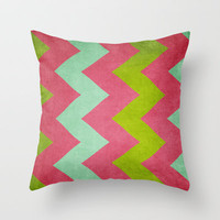 Cocktails with Lilly - Pink, Aqua, Green Chevron Throw Pillow by CMcDonald | Society6