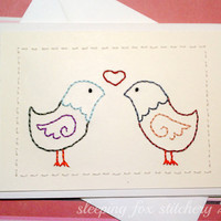 Hand Embroidered Card Love Birds by sleepingfoxstitchery on Etsy