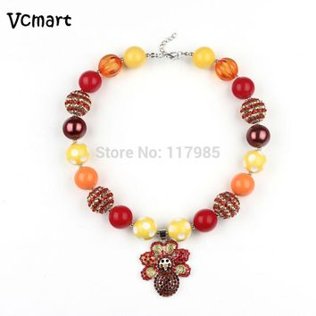 2016 Thanksgiving Day Turkey Rhinestone Pendant Bubblegum Necklace 2Pcs Kid Toddler Chunky Beaded Necklace Party Favor