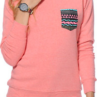 Glamour Kills Aztec Pocket Coral Crew Neck Sweatshirt