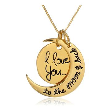 I Love You To The Moon and Back Gold Toned Two Pendants Moon Gift Love Charm Necklace 18 inch