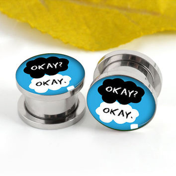 Okay  monogram   ear plugs ,6mm-20mm ear plugs,Stainless steel ear plugs,Screw Kit Women Flesh Tunnel,Body Piercing,0g 00g plugs