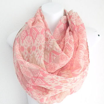 Bohemian Tribal scarf, Coral Infinity scarf, Coral Aztec scarf, Chevron Scarf, Loop scarf, Infinity scarves, Beige and coral tribal scarf