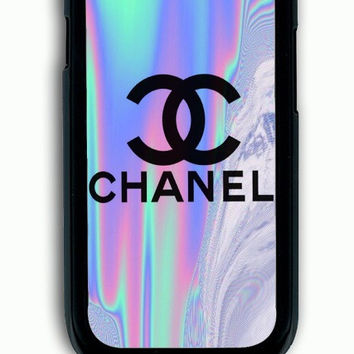 Samsung Galaxy S3 Case - Rubber (TPU) Cover with Coco Chanel Holographic Rubber Case Design