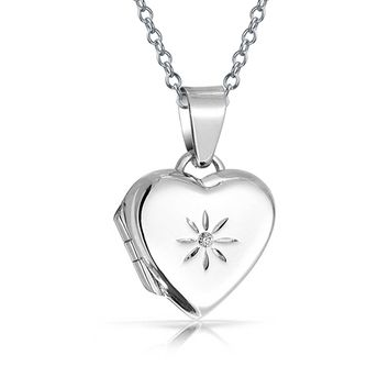 Small CZ Accent Locket Necklace That Holds Picture Photo For Women