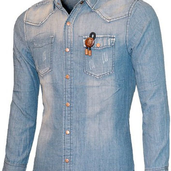 Turn-down Collar Long Sleeve Scratched Pockets Front Chambray Shirt