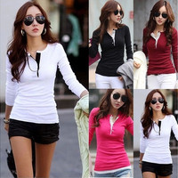 Korean Fashion Women's Slim Chiffon Tops Long Sleeve Shirt Casual Blouse Tee [8805186311]
