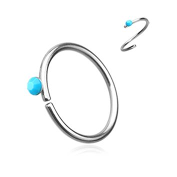 Silver and Turquoise Bendable Nose Ring Nose Hoop  20ga Body Jewelry Steel