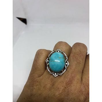 Vintage Pursian Turquoise and white Sapphire Gemstone 925 Sterling Silver Statement Ring