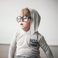 Child's Hoodie, OAK Agave Hoodie, Grey Stripes with Charcoal Cuffs and Waistband