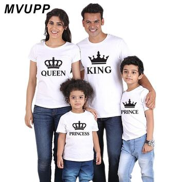 Cool family t shirt outfits clothing king queen princess prince for daddy mommy and me baby mother daughter father son look clothesAT_93_12