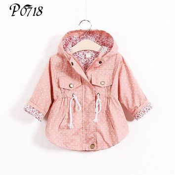 2018 New Spring Autumn Baby Girls Jacket Clothes Polka Dot Outerwear Infant Girl Floral Hooded Trench Coat Trendy Kids Outfits
