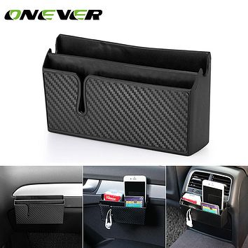 Onever New Multifunctional Car Phone Holder Black Mobile Phone Storage Box Holder Pocket box Organizer Car Accessory storage bag